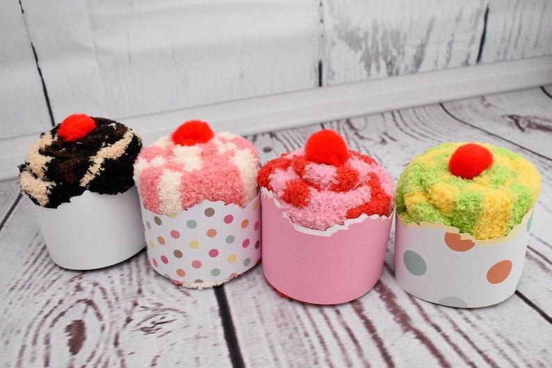 Fuzzy Sock Cupcakes