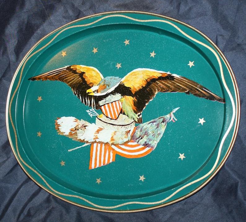 American Eagle /& Stars Design Oval Platter Vintage 1970s Metal Tin Serving Tray