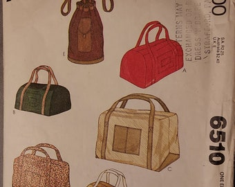 Vintage 1970's McCall's 6510, Set of Bags - Three Styles, Sewing Pattern,  COMPLETE