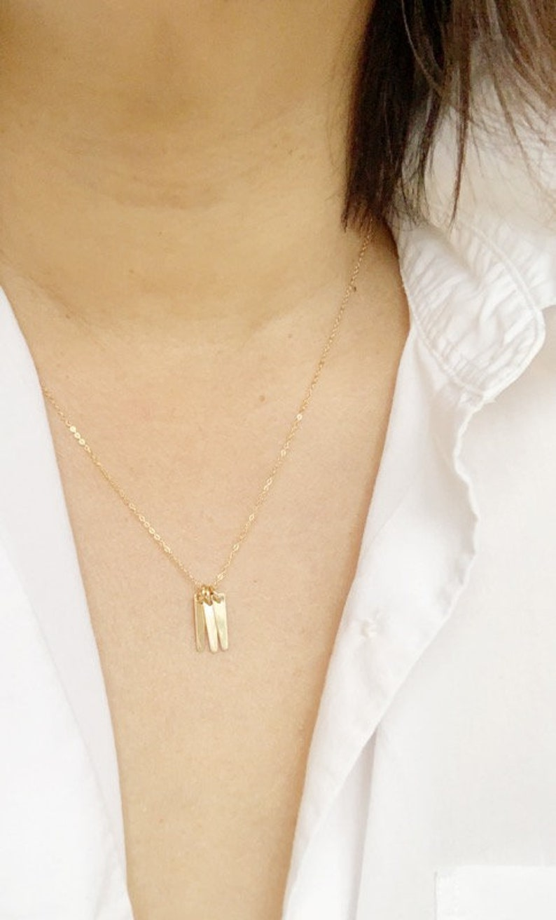 Layering Necklace Gold and Dainty Jewelry Gold Spear Dainty Gold Dagger Charm Necklace Spike Necklace Tiny Pendant Bar Necklace Tag
