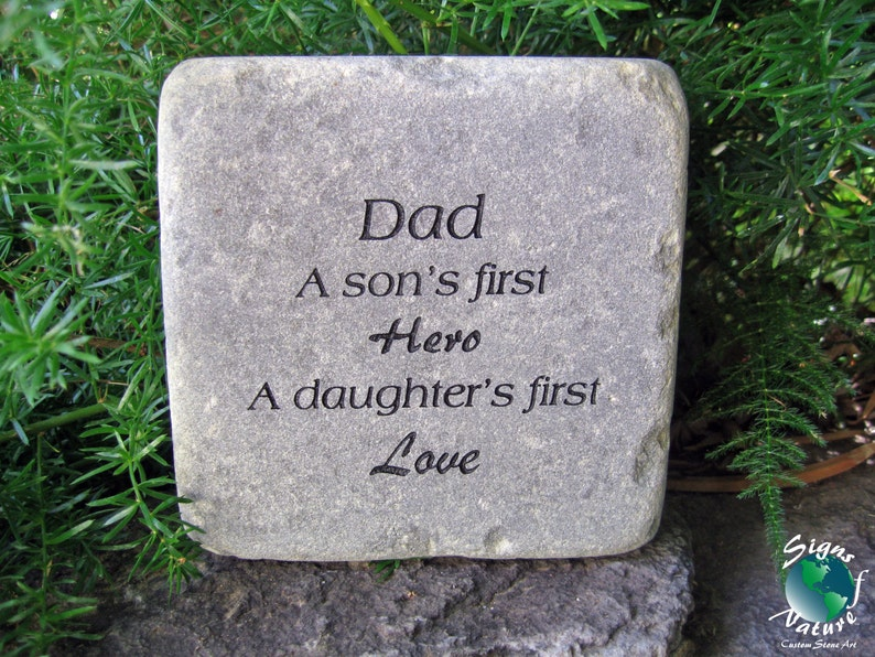 856749c8 Dad A Sons First Hero A Daughters First Love Garden Stone | Etsy