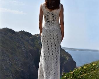 Beach wedding crochet dress PATTERN written in English for every row + charts, sizes S-L, PDF download, crochet beach wedding dress pattern.