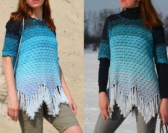 Freelancer crochet top PATTERN written in English+charts, SIZE INCLUSIVE pattern (sizes S-5XL), fringed scallop edge crochet sweater pattern