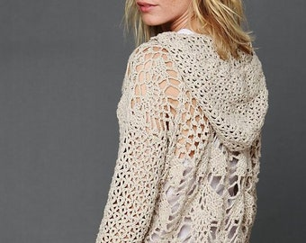 Trendy V-neck crochet top PATTERN written in English+charts, fits sizes S-XL, designer crochet sweater pattern, Free People crochet cover up
