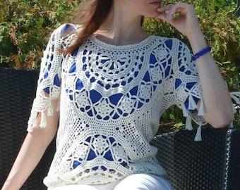 Beach crochet top PATTERN (sizes S-L), crochet TUTORIAL in English (every row), designer crochet top pattern, trendy crochet sweater pattern