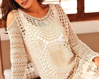 Cold shoulder crochet top PATTERN (sizes XS-3XL), crochet TUTORIAL in English (every row), sexy crochet top pattern, crochet sweater pattern