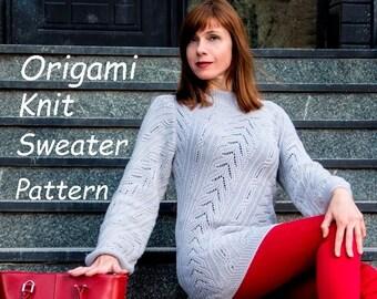 d0eea50729c7 Origami knit sweater PATTERN sizes S-3XL knitting TUTORIAL