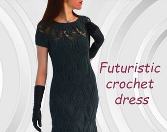 Seamless crochet dress PATTERN written in English+charts, sizes M-2XL, adjustable length, PDF download modern top down dress crochet pattern