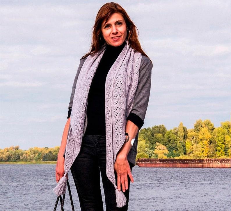 Unisex knit wrap PATTERN knit TUTORIAL in English asymmetric image 0