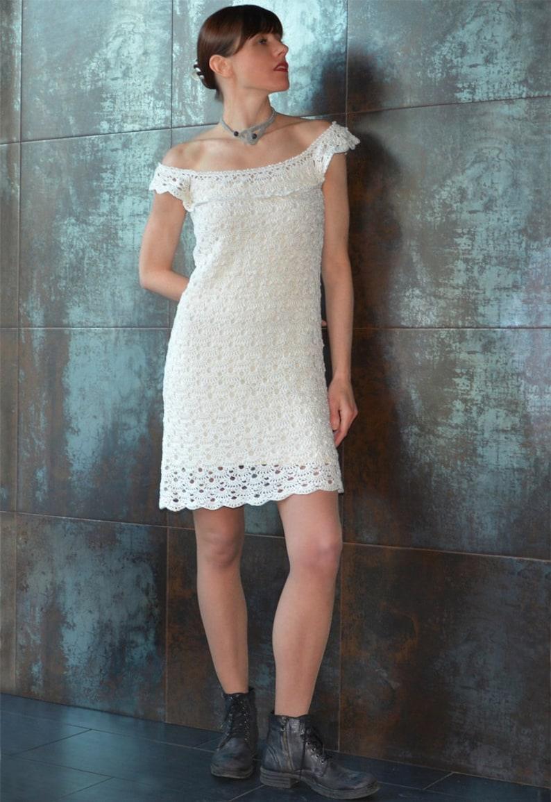Off shoulder crochet dress PATTERN sizes XS-3XL crochet image 0