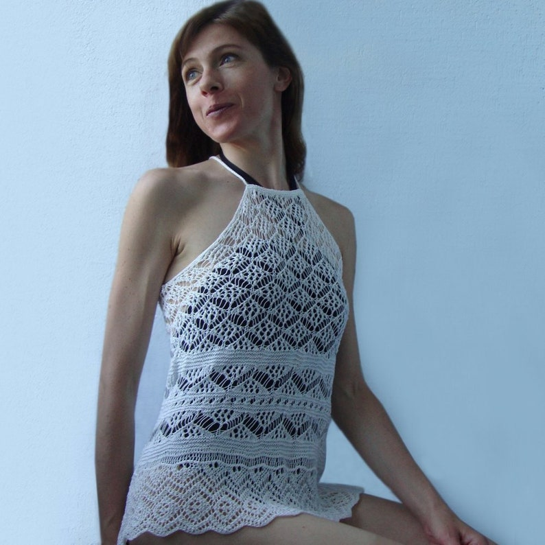 Knit halter-neck top PATTERN detailed TUTORIAL in English image 0
