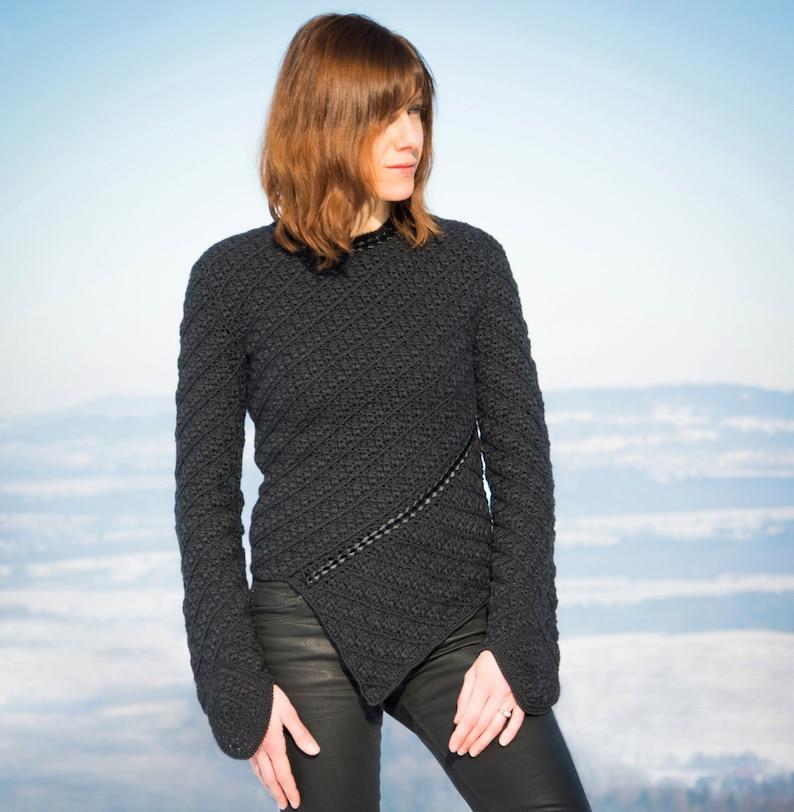 Crochet sweater PATTERN sizes MLXL crochet TUTORIAL in image 0