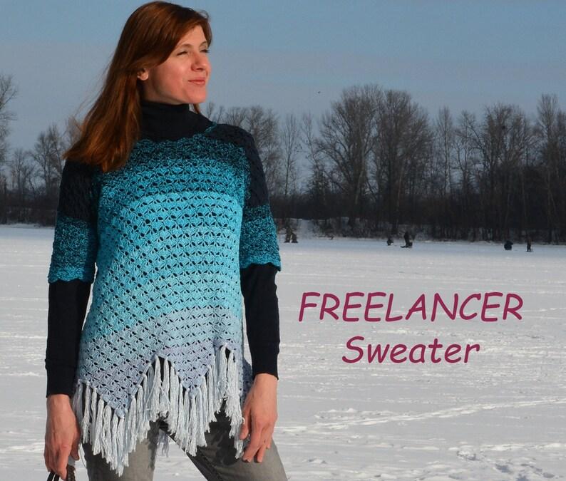 Freelancer crochet top PATTERN for sizes S-5XL crochet image 0