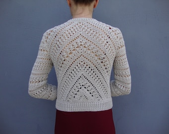 Crochet jacket PATTERN, crochet TUTORIAL in English with charts for every row, crop crochet cardigan pattern, crop crochet sweater pattern.