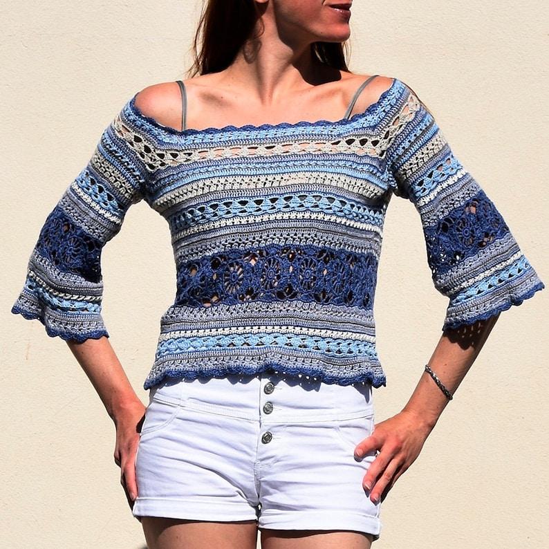 Crochet sweater PATTERN for sizes XS-4XL crochet TUTORIAL in image 0