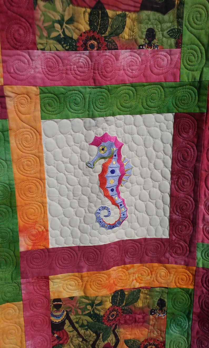 Embroidered Aquatic Creatures plus Novelty Fabric Squares Quilt