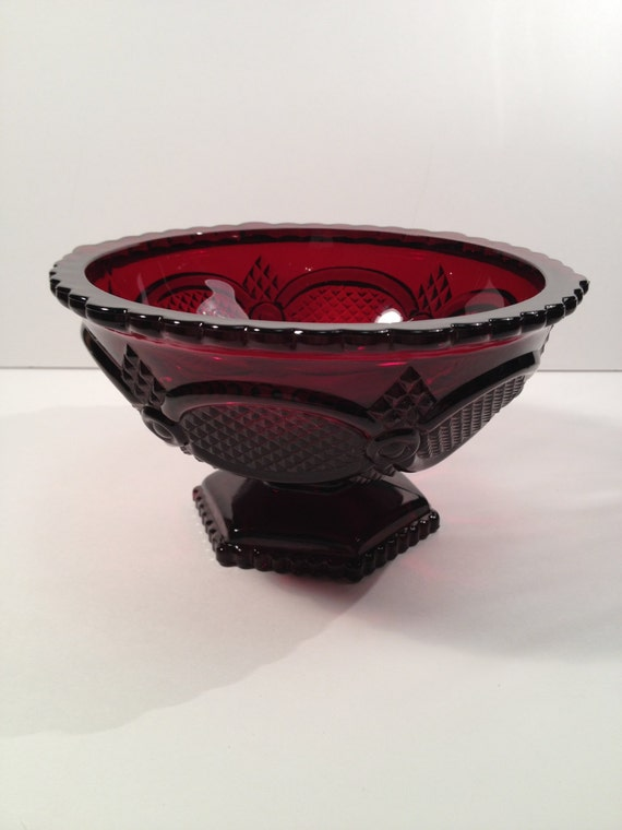 Avon Cape Cod Collection Ruby Red Glass Compote 1970s Etsy