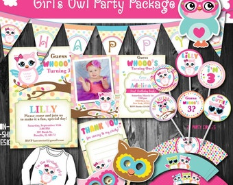 Girls Adorable Owl Birthday Party Package Printable Decoration First 1st Fall Decor Printables