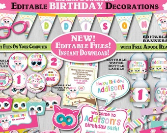 Editable Owl Birthday Decorations Self Edit Printable Party First 1st Fall Decors A 102 G