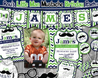Little Man Birthday Party Package- Mustache Birthday Party-mustache First Birthday-1st Birthday invitation-Mustache party-Little man party