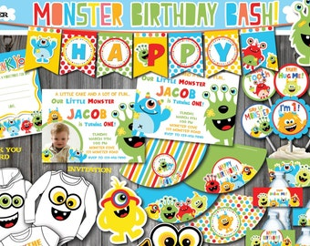 Monster Party Package Birthday Printable First 1st DIY Decoration