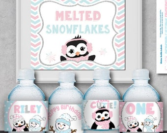 Editable ONEderland Birthday Water Bottle Labels & Sign-Printable ONE-derland Party Labels-First Birthday-Penguin Birthday-Winter-A-103-G4