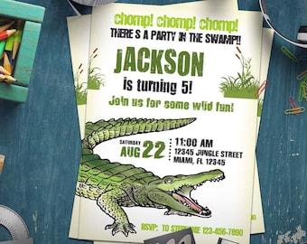 Alligator Invitation Etsy