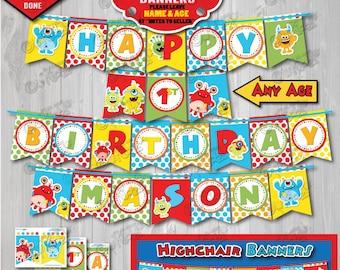 Printable Monster Party Banner Birthday PartyBanner First 1st DIY Decoration