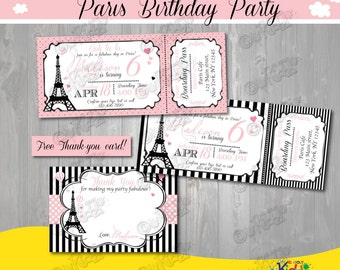 Paris Birthday Invitation Invite Printable Party Parisian First
