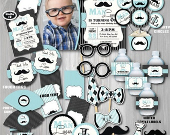 Little Man Birthday Party Package Mustache First 1st