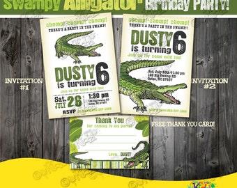 Alligator party package printable alligator birthday party alligator party invitation alligator birthday party invite swamp birthday swamp party alligator party printable alligator invitation filmwisefo