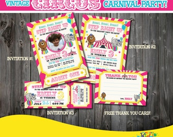 Circus Invitation Vintage Birthday First Carnival Party Invite 1st Printable