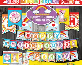 ON SALE! Girl Rainbow Party Banners, Rainbow Birthday Party Banner, Rainbow party Decoration, Rainbow birthday party Printables