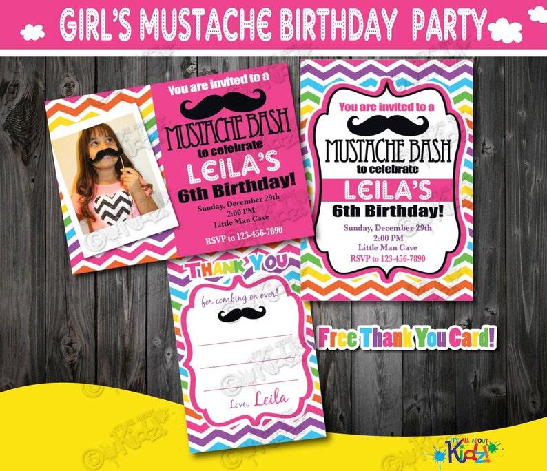 Girl Mustache Party Invitation Mustache Birthday Etsy