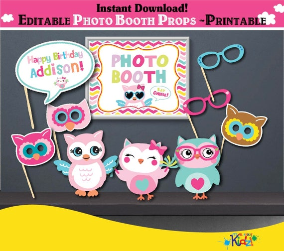 Printable Owl Birthday Photo Booth Props Party Center