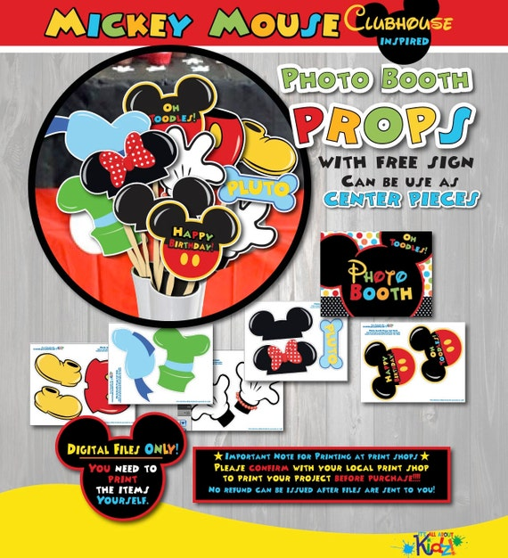 photo relating to Free Printable Mickey Mouse Signs identified as Fast Obtain! Mickey Mouse Clubhouse birthday Image Booth Props-Mickey Mouse birthday-Mickey Mouse Celebration-Can be utilised as Heart parts