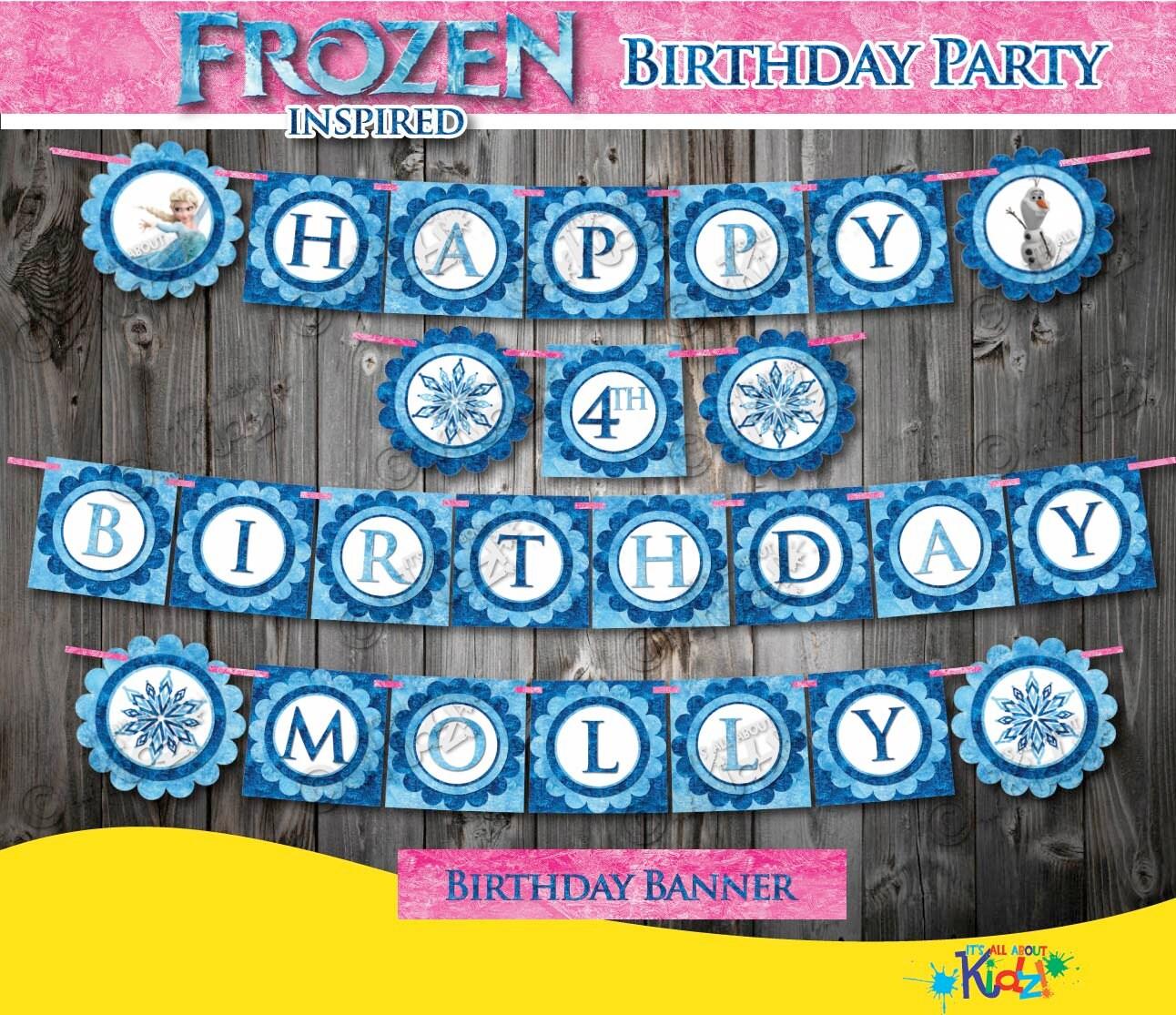 Frozen Inspired Birthday Banner Only Frozen Birthday