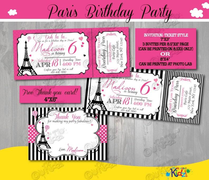 Invitation d'anniversaire de Paris-Paris Anniversaire | Etsy