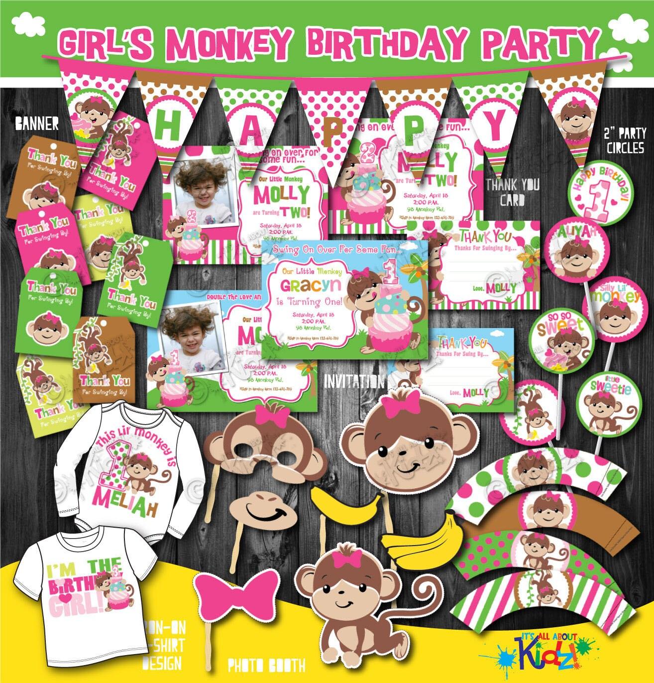 Girls Monkey Birthday Party Package-Printable Monkey