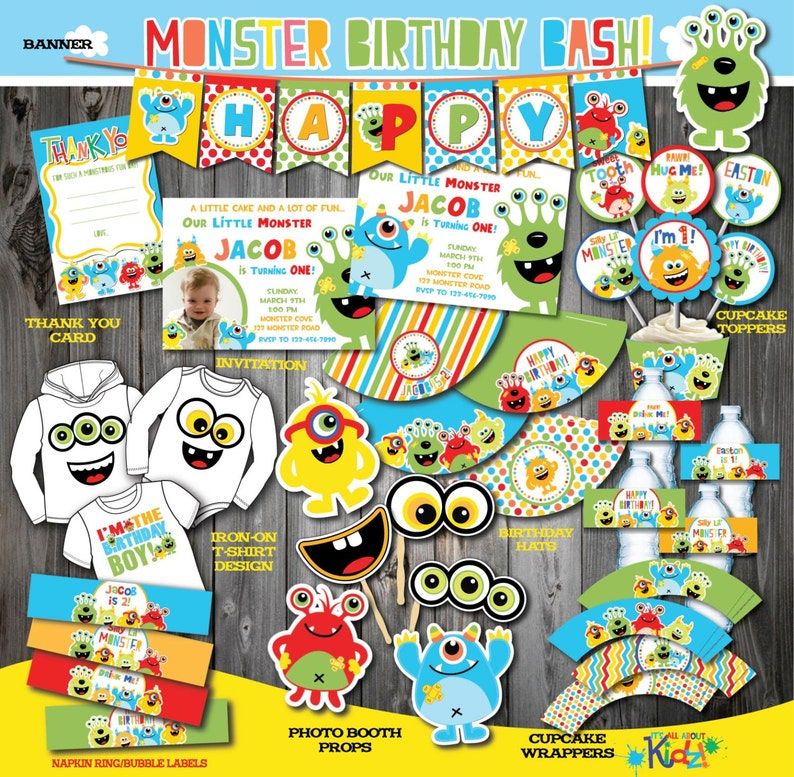 Monster Party Package Monster Birthday Party Printable Monster Etsy
