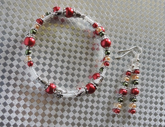 354212533ca5 Multicolor Pearl Jewelry Gift Set Red Silver Green Jewelry