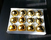 Vintage Gold Glass Ornaments In the Original Box Set of 12 Christmas Tree Decorations Bulbs USA Noelle / EPSTeam
