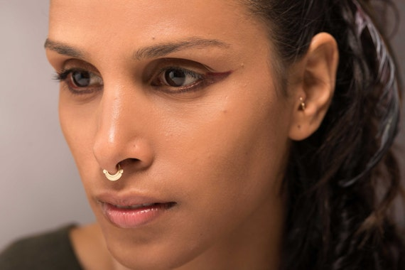 Gold Septum Ring Indian Septum Ring Tribal Septum Ring Etsy