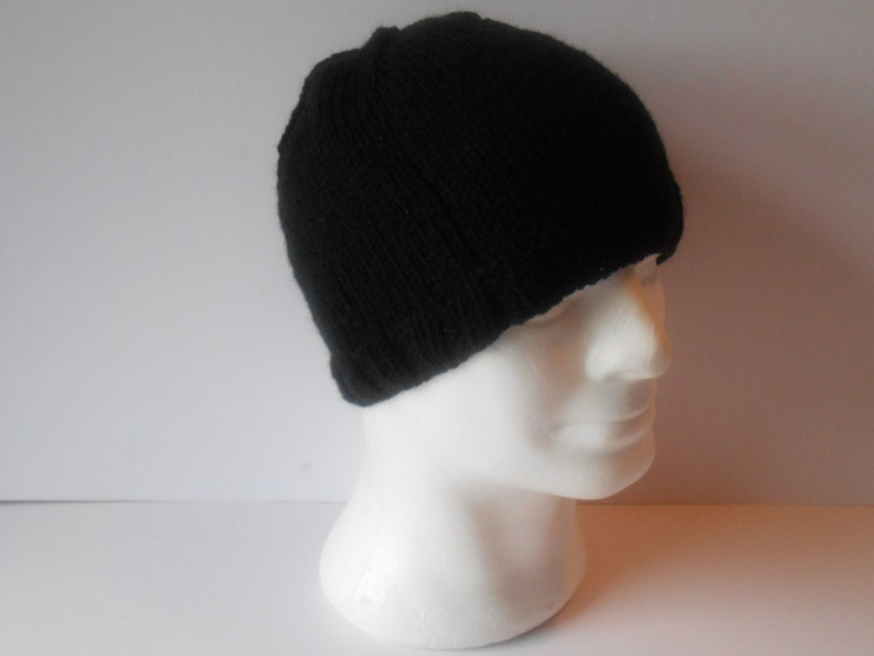 e91390de7c6 Knitted hats for Men. Black beanie hat. Gift for Dad. Hand
