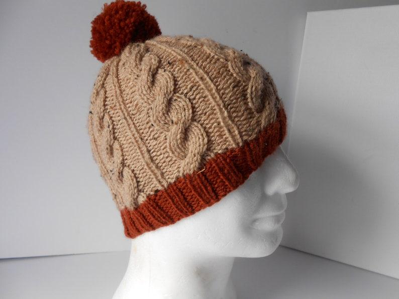 5cc6727710eb2c Mens hand knit beanie hat. Mens pom pom hat. Hand knitted   Etsy