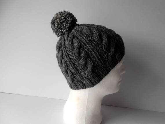 Hats for Men. Knitted Hat. Cable Knit Hat. Hat with pom pom.  6adbc4acb68