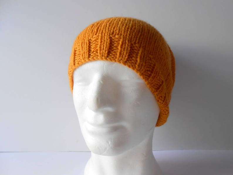 094844df7bd Unisex Slouchy Beanie Hat in a rich golden yellow colour. Hand