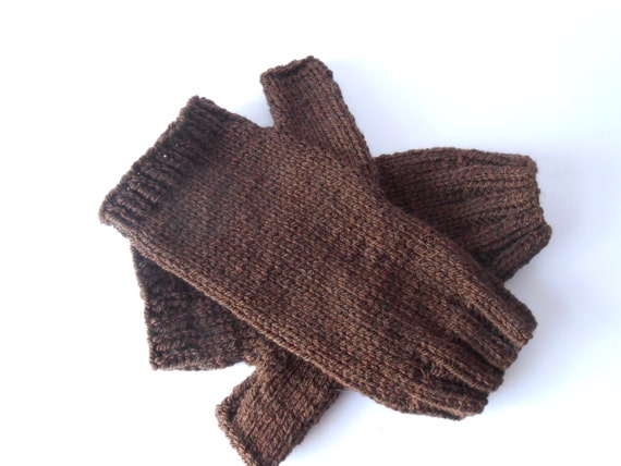 knitted gloves Fingerless Gloves size ML Handknit Gloves Brown Texting Gloves for Men and Teen Boys wool gloves mitts Hand Warmers