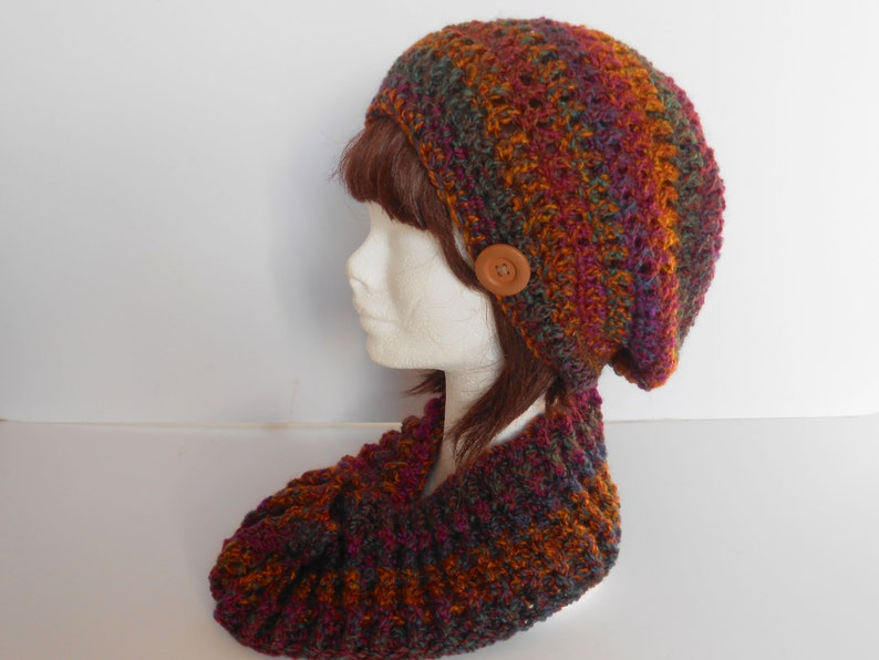 094a6599eab Clothing Gift. Scarf and Hat Set. Crochet slouchy hat. Warm winter cowl.  Winter Hat Sets. Slouchy Beanie hat with Infinity scarf.
