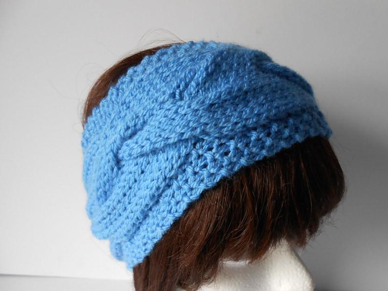 Gift for her Knit hairband Women/'s Braided Headband Cable Knit Blue Ear warmer Blue chunky headband Handmade Gift.